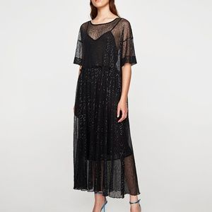 NWT Zara AW17 Size S Black Sequined Tulle Dress